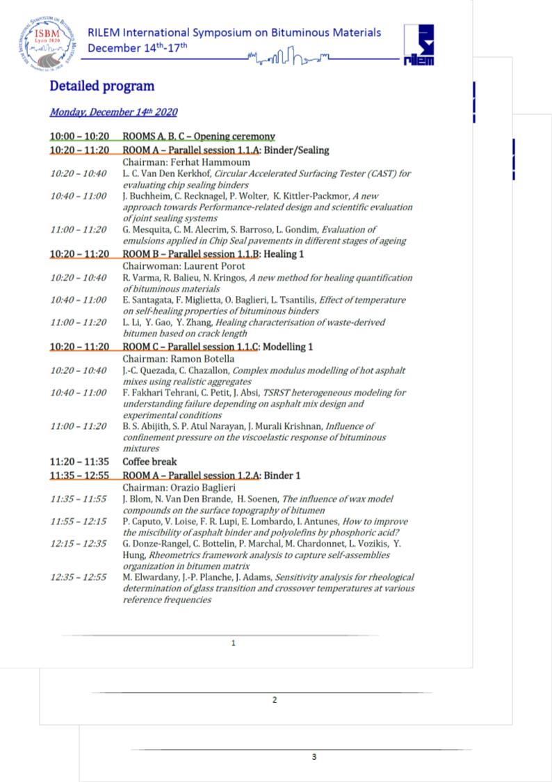 RILEM ISBM Lyon 2020 Detailed program