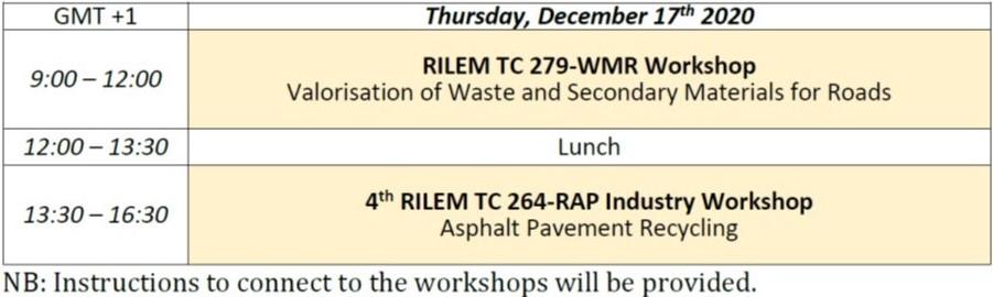 RILEM ISBM Lyon 2020 Overview program - Thursday, December 17th